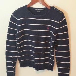 Blue & White Strip Knit Ralph Lauren Sport Sweater